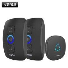 Беспроводной дверной звонок KERUI, водонепроницаемый Светодиодный светильник с сенсорной кнопкой, беспроводной Умный домашний дверной звонок, Набор колокольчиков с 32 звонками, дверной звонок, сигнализация