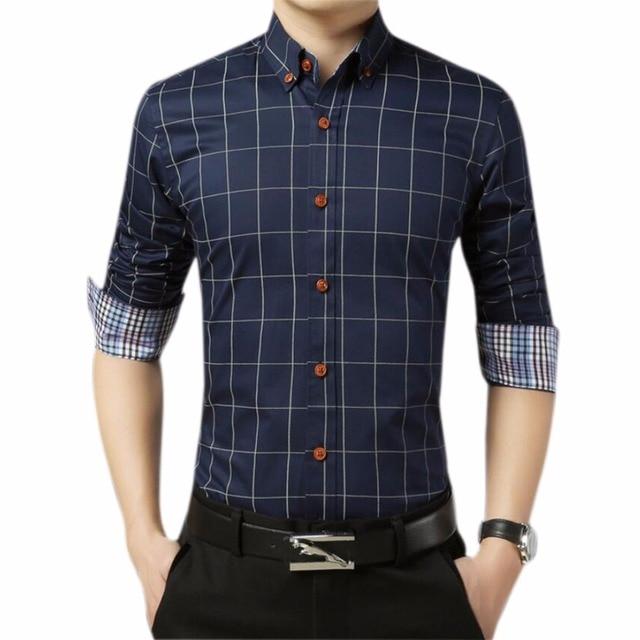 Tallas grandes Marca Camisa A Cuadros Para Hombre Ropa Para Hombre Oro  Formal Casual Shirt Slim 599b15b5f39b