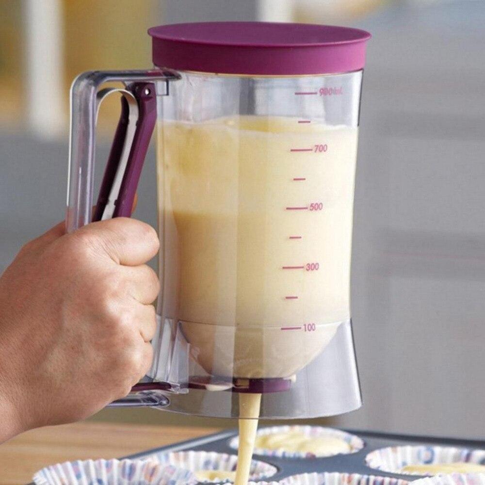 DIY Cupcake Pancake Cake Cream Mix <font><b>Dispenser</b></font> Funnel Measuring <font><b>cup</b></font> Bakeware Kitchen Mould Accessory Tool 900 ml Muffins <font><b>Dispenser</b></font>