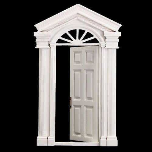 мода 112 винтаж кукольный домик миниатюрный орнамент украшения морден белая деревянная дверь 6 панель с рамкой белый