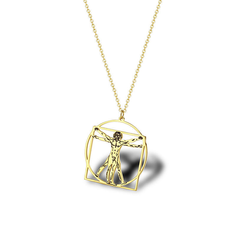 Vitruvian Man Leonardo Da Vinci Necklace Gift Science