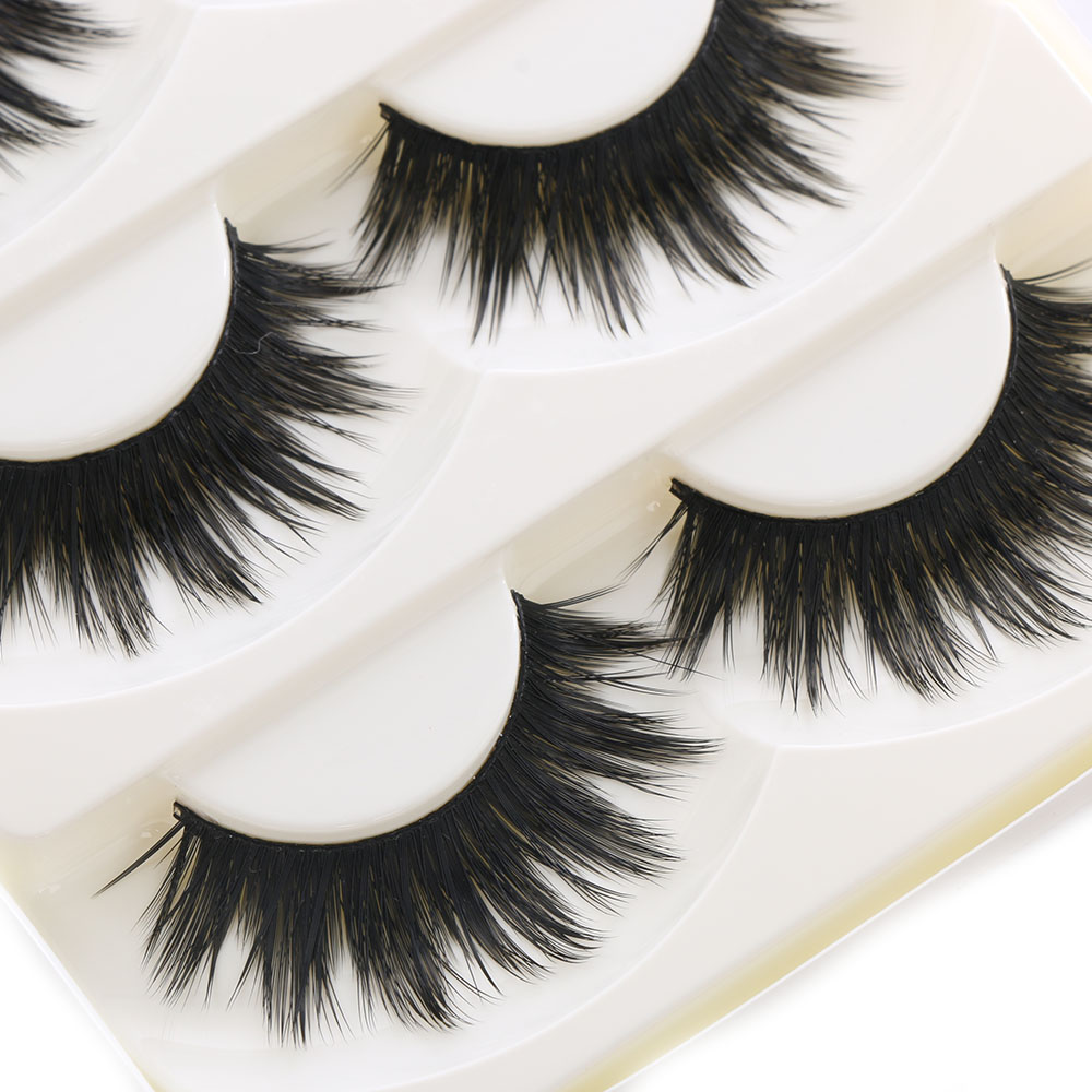 7293fac1d23 5 Pairs Of Women Makeup Thick False Eyelashes Nautral Eye Lashes Cross Long  Black Handmade Eyelash
