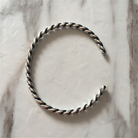 Genuine 925 Sterling Silver Twisted Silver Bangle Bangle Bracelet Fit European Brand Jewelry Not Include Charms
