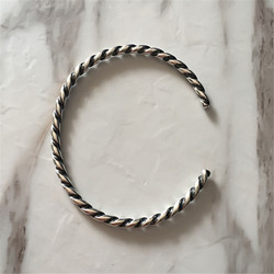 Genuine 925 Sterling Silver Twisted Silver Bangle Bangle Bracelet Fit European  Jewelry Not Include charms