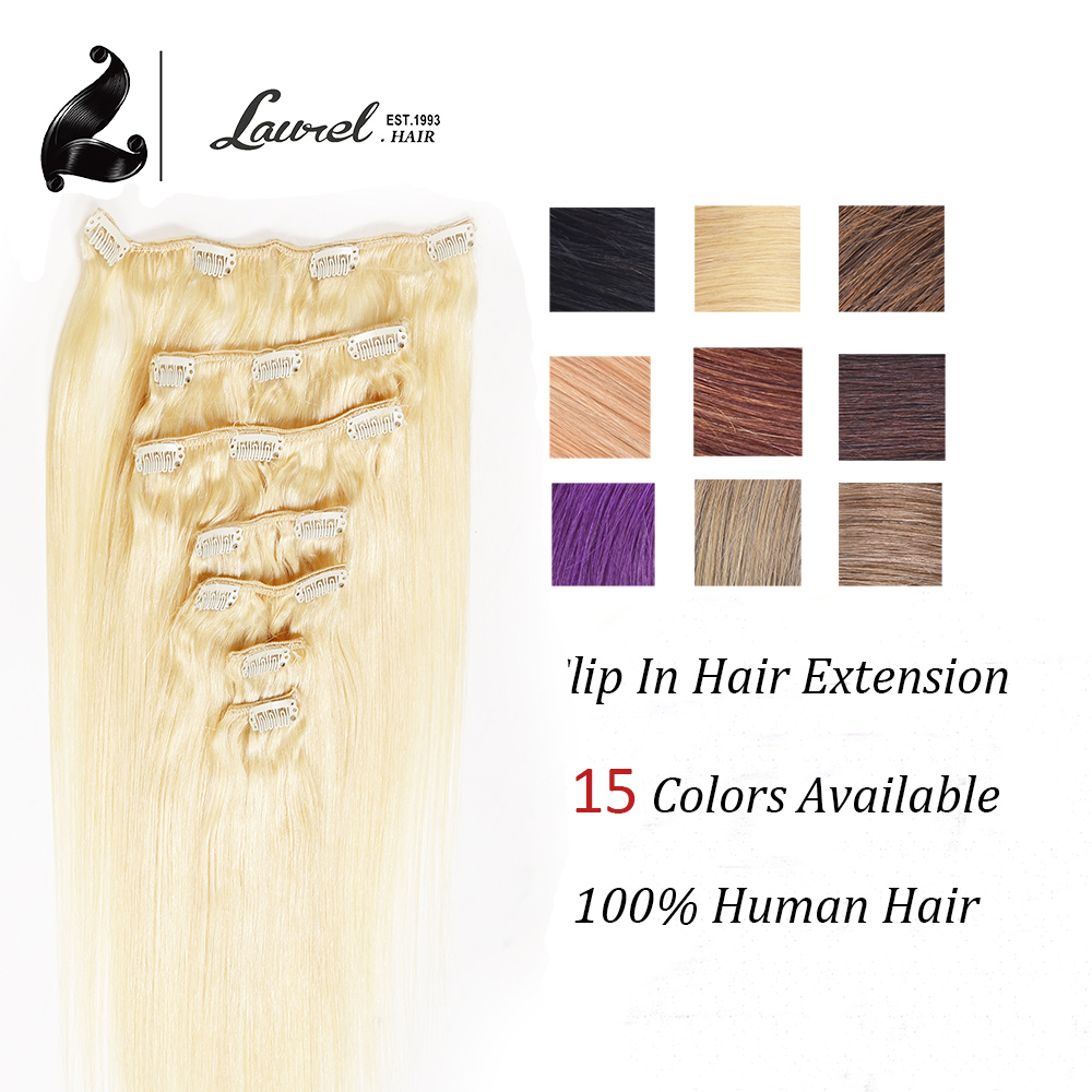 Clip In Human Peruvian Hair Extensions 20 Colors Available Dark Brown 70g 80g 100g 7Pcs Straight Clip In Human Hair Extensions