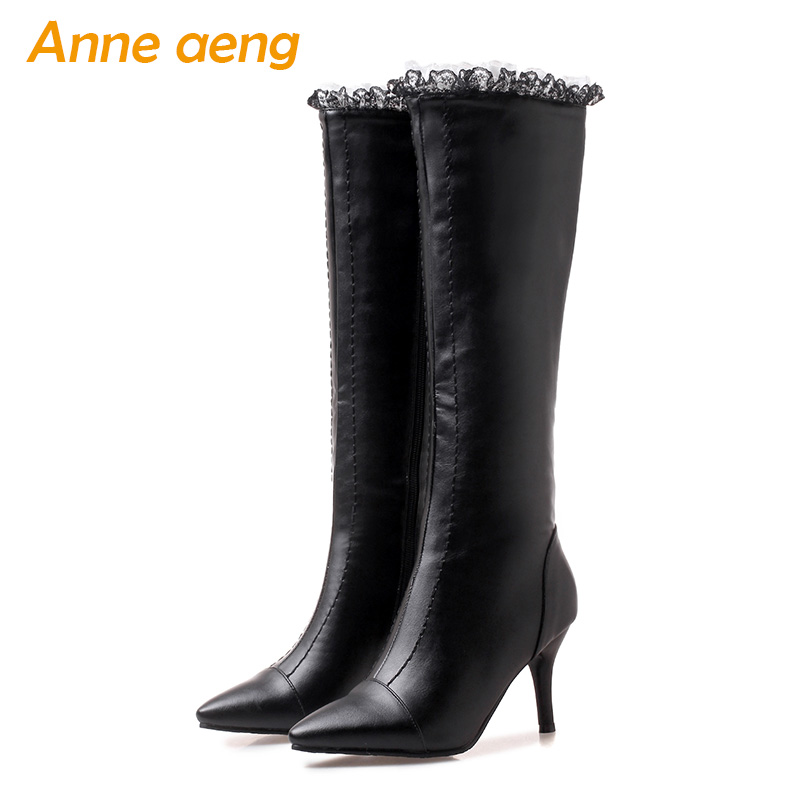 2019 new winter women knee-high boots warm plush lining high heels zip ladies sexy snow boots black women shoes plus size 33-46 комплект футболка шорты tom tailor комплект футболка шорты