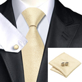 C-1116 Moda Hombres Corbata Tie Set Nieve Oro de Bolsillo Gemelos cuadrados 8.5 cm Clásico Jacquard Corbata de Seda para Hombres Trajes Corbatas