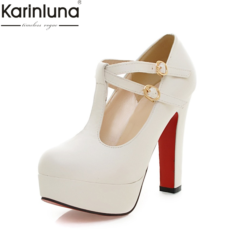 Karinluna 2019 Brand Dropship Big Size 31-43 Elegant Super High Heels Party Women's Shoes Sexy Platform T-strap Woman Pumps