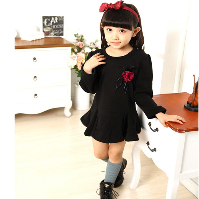 2016 Girls Velvet Dresses Kids Girls Long Sleeve Casual Dresses