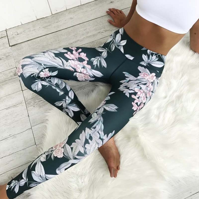 No Transparent ! Blue Slim   Leggings   Women Flower Print Sporting   Legging   Fitness Pants Sexy Push Up Elastic Leggins Drop Shipping