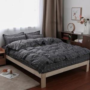 Image 2 - Solstice Home Textile Dark Gray Bedding Set Geometric Plaid Simple Duvet Cover Pillowcase Adult Teenage Man Bed Linen No Sheet