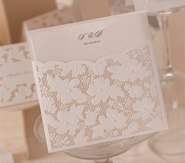 Pearl And Lace Wedding Invitations: ⊹200pcs White Square Laser Cut Flower With Small Pearl