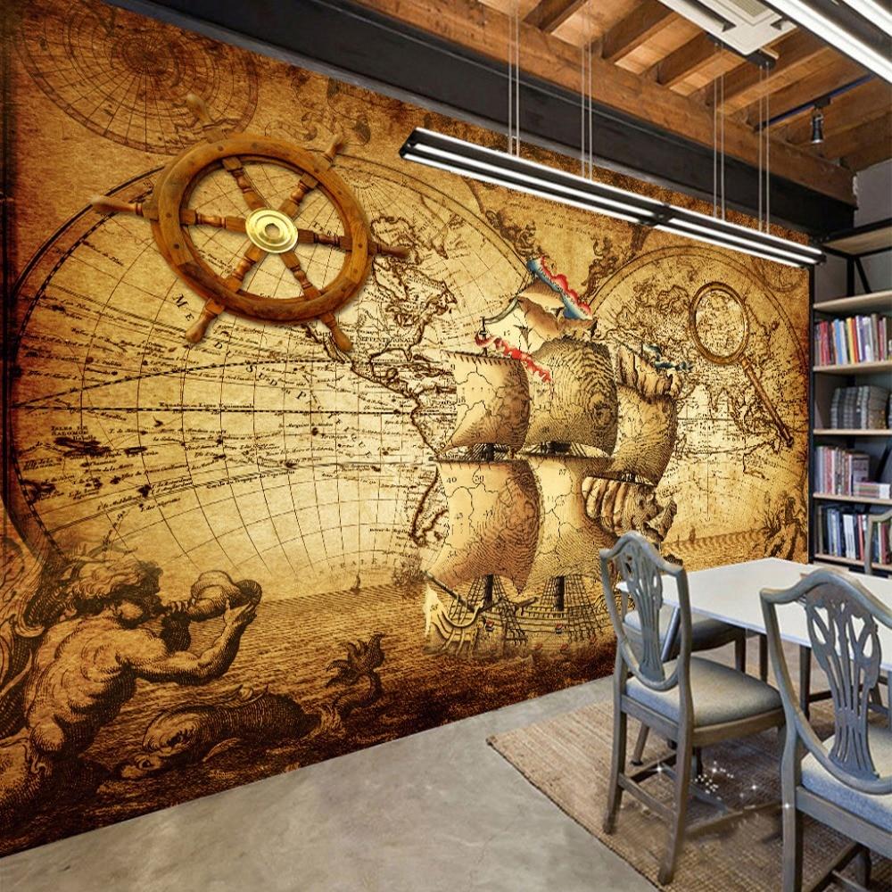 Retro Nostalgia Poster 3D Room Wallpaper Custom Mural Non-woven Wall Paper Decor Navigation Sailing World Map Mural Paintings