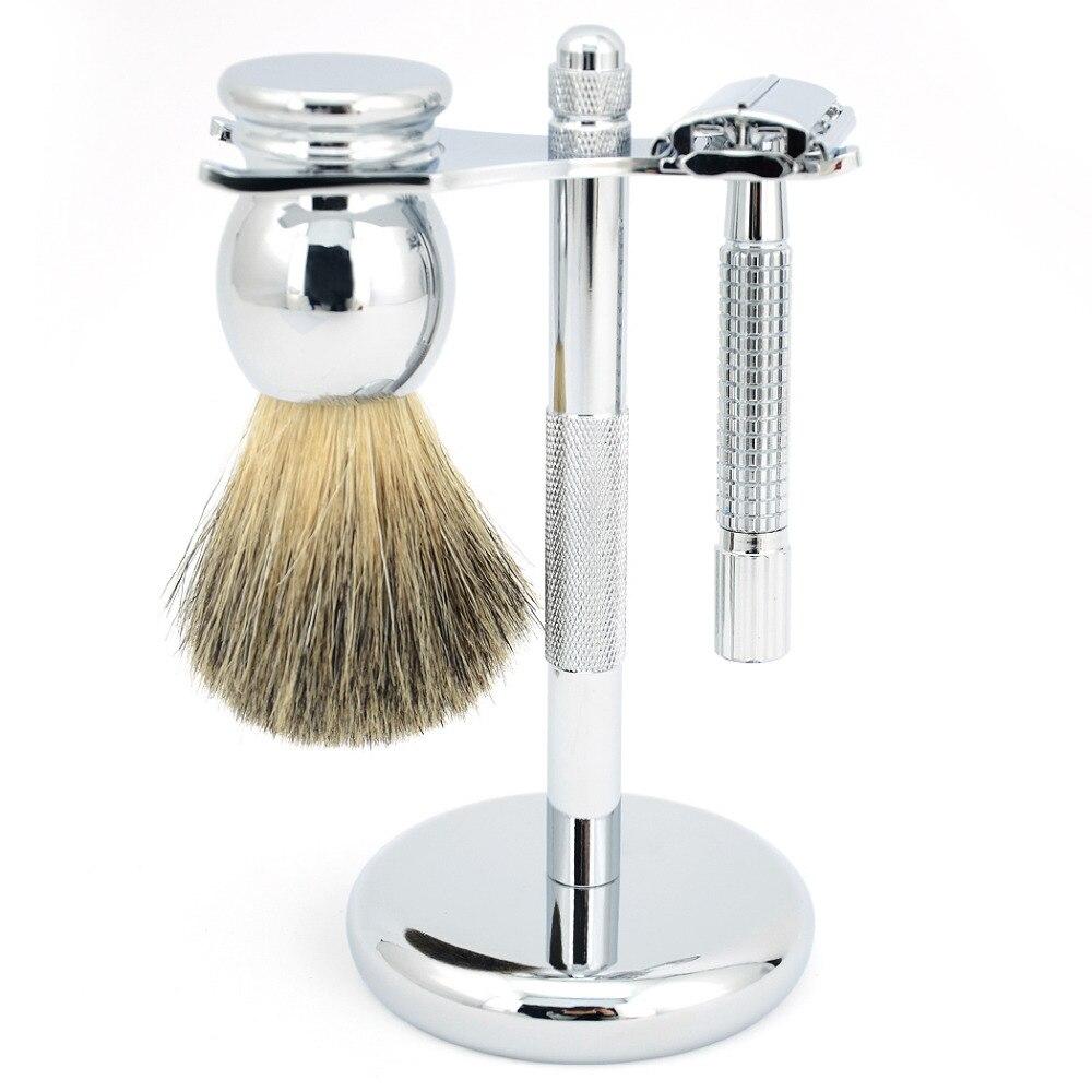 ZY Double Edge Butterfly Safety Razor Set + BADGER Hair Shaving Brush+ Stainless Steel Razor Stand Holder For Men Shave Beard 2pc set stainless steel man shaving safety razor and badger beard shave brush