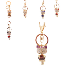 Crystal Rhinestone Metal Cat Keychain Novelty Souvenir Gifts Couple Key Chain Key Ring Hangbag Charms Pendant 6 Colors