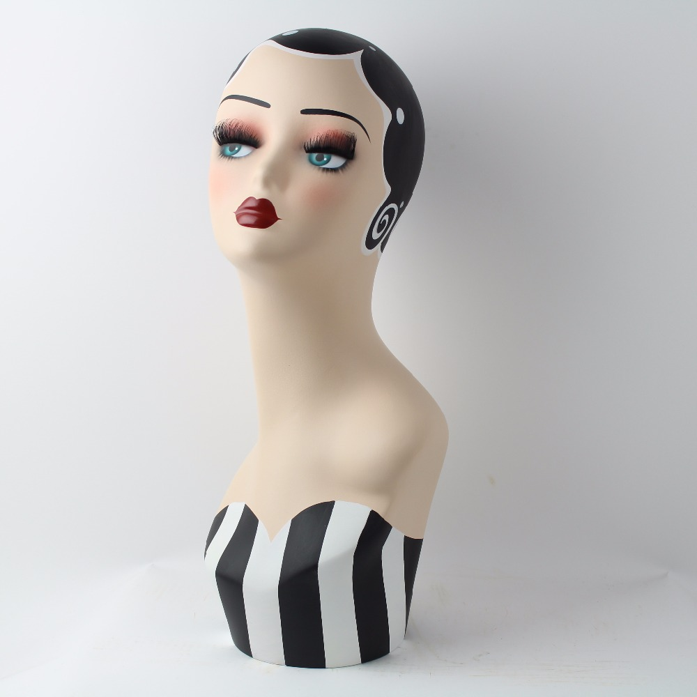 Vintage Hand Painted Makeup Female Manequin Manikin Mannequin Head For Hat And Jewelry DisplayVintage Hand Painted Makeup Female Manequin Manikin Mannequin Head For Hat And Jewelry Display