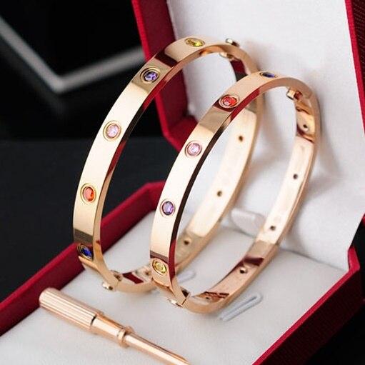 Delicate Tyme Carter love Bracelets & Bangles Titanium Steel Bangle Fine Jewelry For Women Vacuum Plating Bangle Top Quality delicate love delicate love de019ewivj76