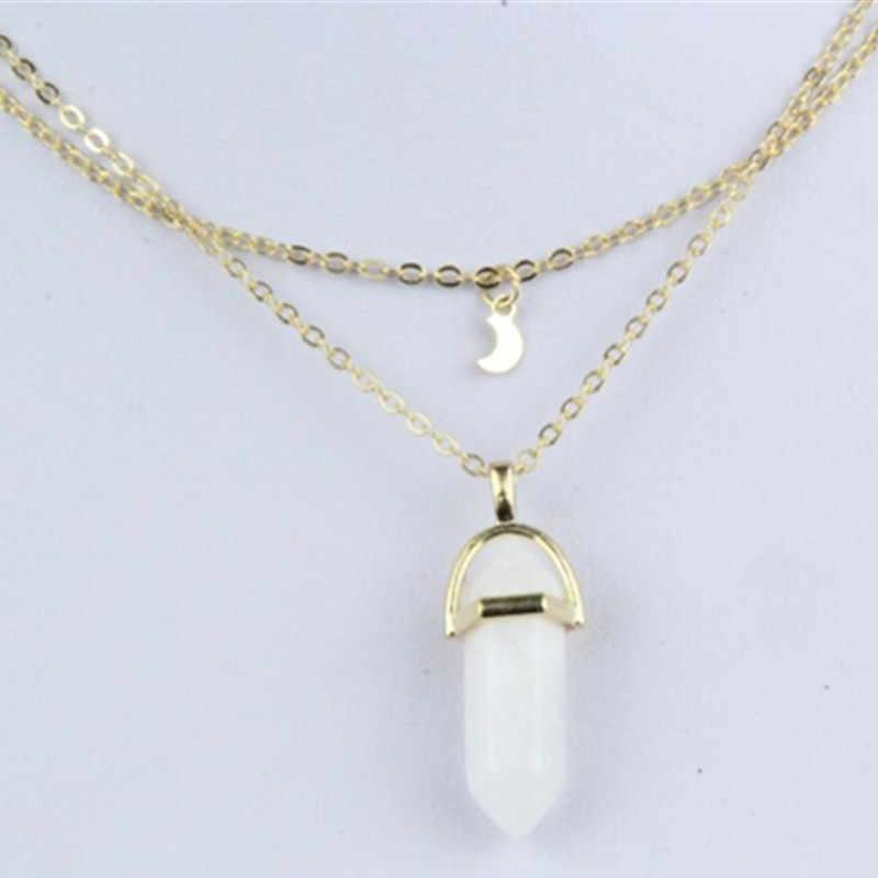 Vintage Bullet Crystal mens naszyjnik złoty wisiorek księżyc z wielu kamieni naszyjnik łańcuch dla kobiet biżuteria Bijoux x291