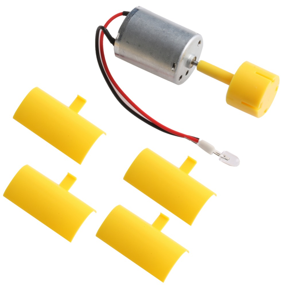 1 Set DC Micro Motor Small LED lights Vertical Axis Wind Turbine Generator Blades For Sale