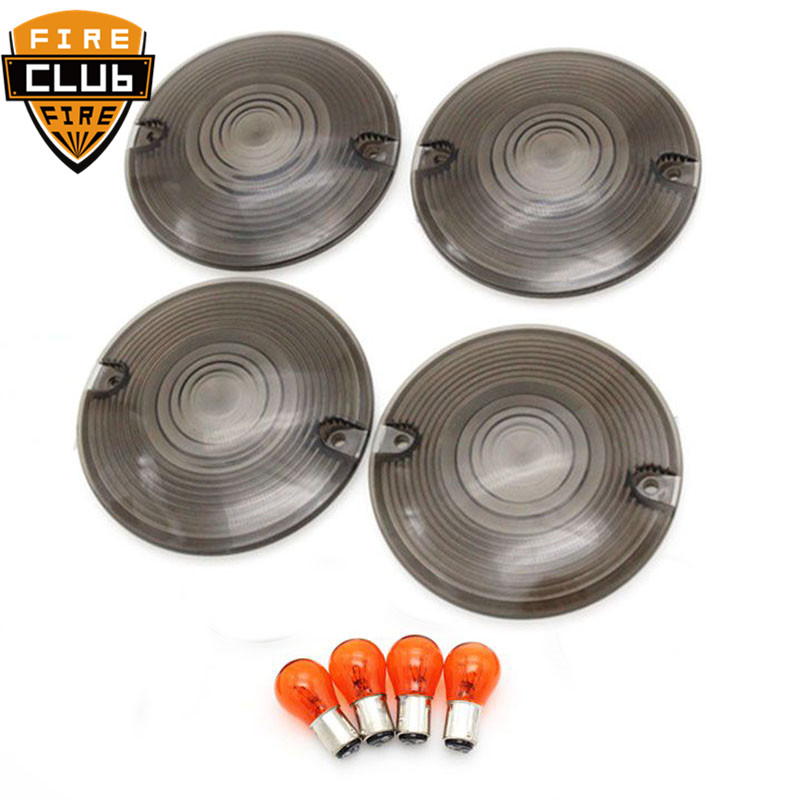 4 x Motorcycle Smoke Turn Signal Light Lens Cover with Bulb For Harley Touring FL Electra Tour Glide Road King FLT FLHR FLSTC4 x Motorcycle Smoke Turn Signal Light Lens Cover with Bulb For Harley Touring FL Electra Tour Glide Road King FLT FLHR FLSTC