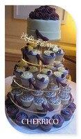 Бесплатная доставка 5 уровня Кристалл Круг Круглый акриловый свадьба кекс стенд lucite день рождения торт Дисплей оформление стенда