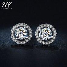 Classic Sliver Color Hearts & Arrows cut 0.75 carat AAA+ Cubic Zirconia Stud Earring Wedding Earrings for Women E836
