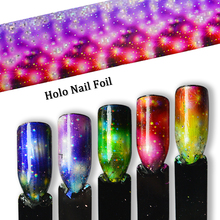 Gradient Starry Sky Nail Foil Transfer Rainbow Holographic Charm Nail Art Decoration Wrap Sticker Paper Set Flowers Tip SA448