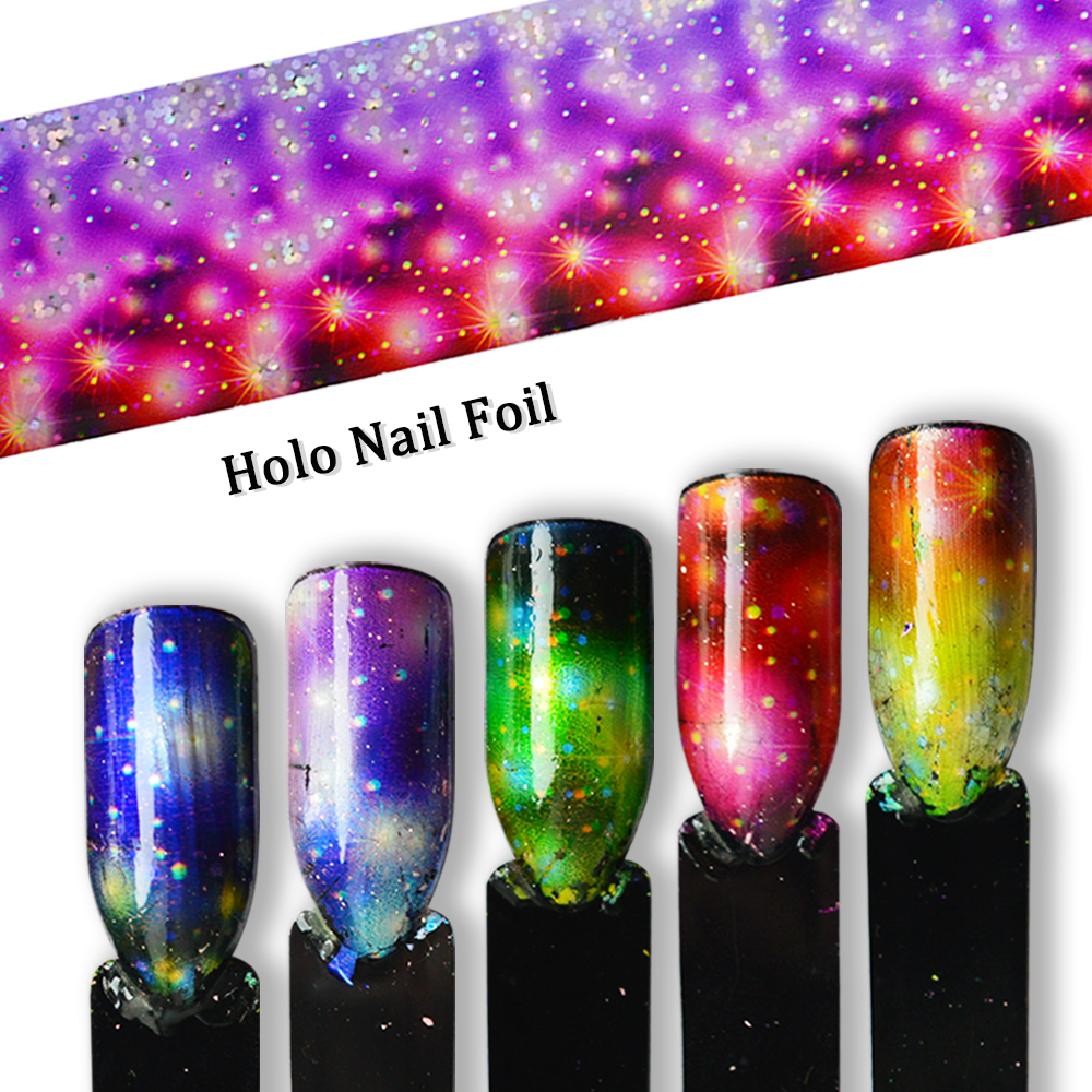 Gradient Starry Sky Nail Foil Transfer Rainbow Holographic Charm Nail Art Decoration Wrap Sticker Paper Set Flowers Tip SA448 9 rolls colorful flower nail foil 4 100cm holographic starry full fingernail manicure nail art transfer sticker