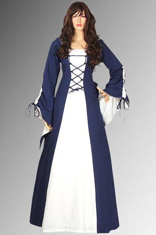 Medieval Renaissance Maiden Dress Costume Clothing Gown with Hood Handmade 100% Cotton LARP