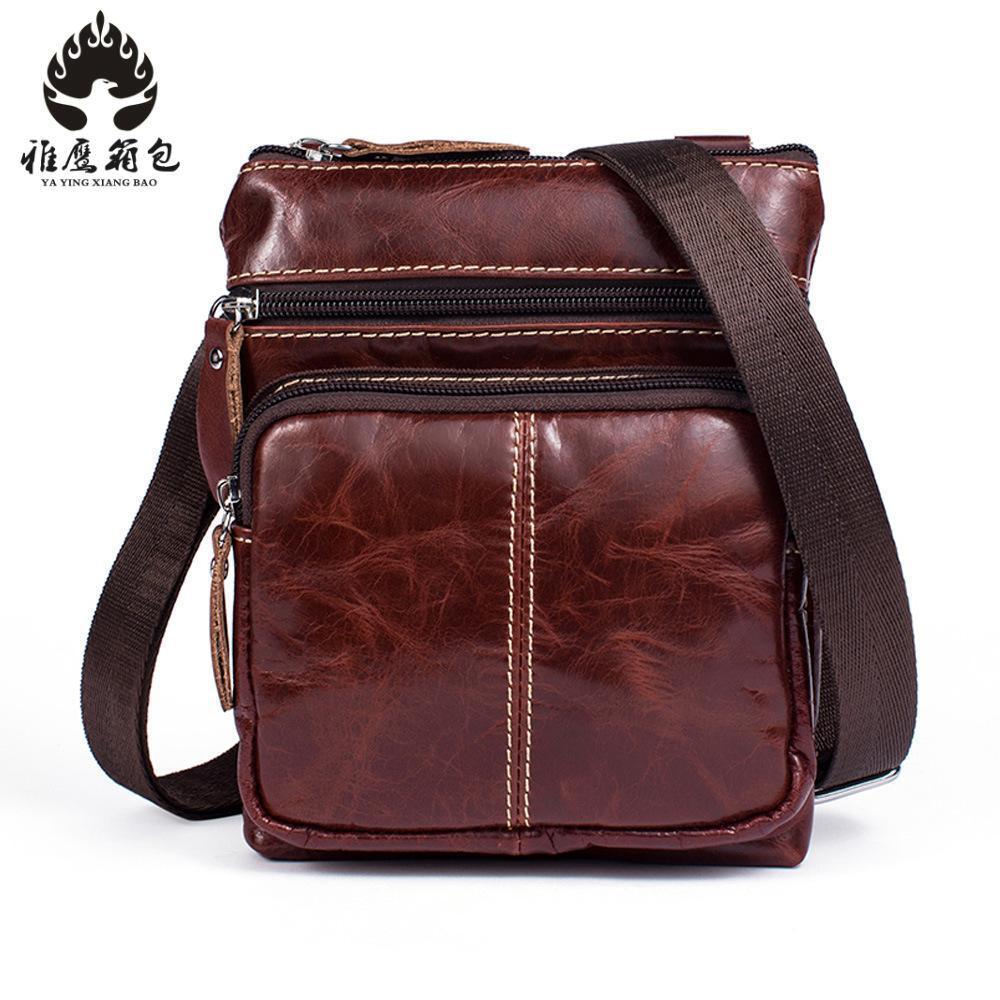 Brand Genuine Cow Leather Small Casual&bussiness Bag Men's Handbag Crossbody Shoulder Bags Messenger Bag Zipper Pack For Travel