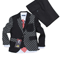 Baby clothes boys Wedding dress 3 pieces Blazers for Weddings Kids Tuxedo suit Black plaid Formal clothing set