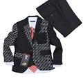 Bebé ropa de los muchachos de La Boda vestido de 3 unidades Blazers para Bodas Niños Smoking traje Negro a cuadros conjunto ropa Formal