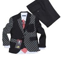 Baby Clothes Boys Wedding Dress 3 Pieces Blazers For Weddings Kids Tuxedo Suit Black Plaid Formal