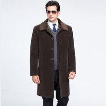 2016 Зимняя Шерсть Пальто Мужчины Высокого класса Бизнес Случайный Мужская Одежда Бренд Длинное Пальто Утолщение Лацкане Шерстяное Пальто