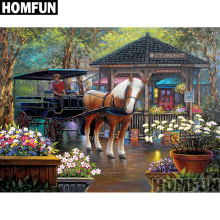 HOMFUN 5D Diamond Pattern Rhinestone Needlework Diy Painting Cross Stitch City Market Embroidery A00765