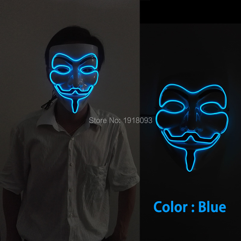 10 COLOR EL wire Mask Halloween Sound activated Vendetta Mask Novelty Lighting glowing EL Glow Party dance Carnival Mask