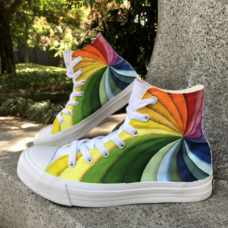 Wen Design Custom Hand Painted Original Shoes Rainbow Vortex Colorful Canvas Unisex Sneakers Boy Girl's Athletic Flats Shoes цена