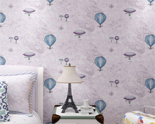 Купить с кэшбэком Purple yellow wallpaper roll children's room wallpaper nautical map hot air balloon bedroom living room 3d wallpaper Beibehang