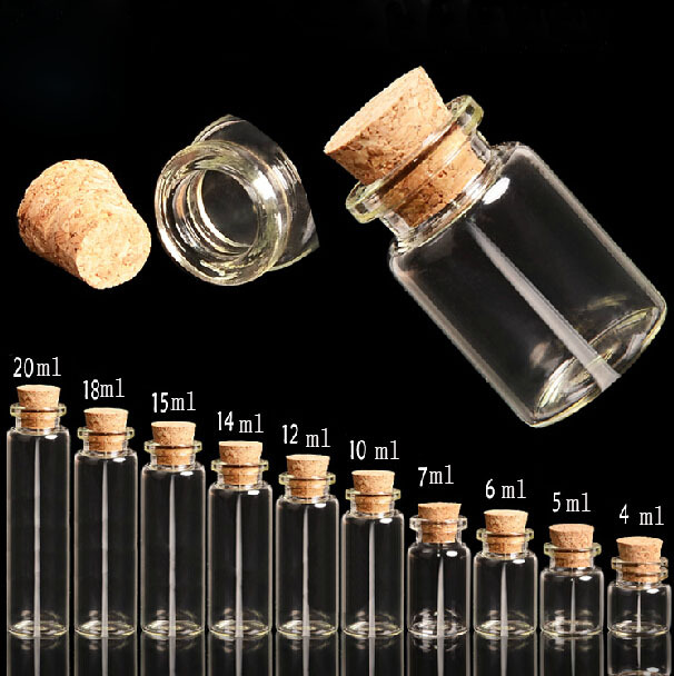 20PCS 5 Ml 22x30mm Small  Clear Empty Wishing Glass Mini Cute Bottle Message Vial With Cork Stopper