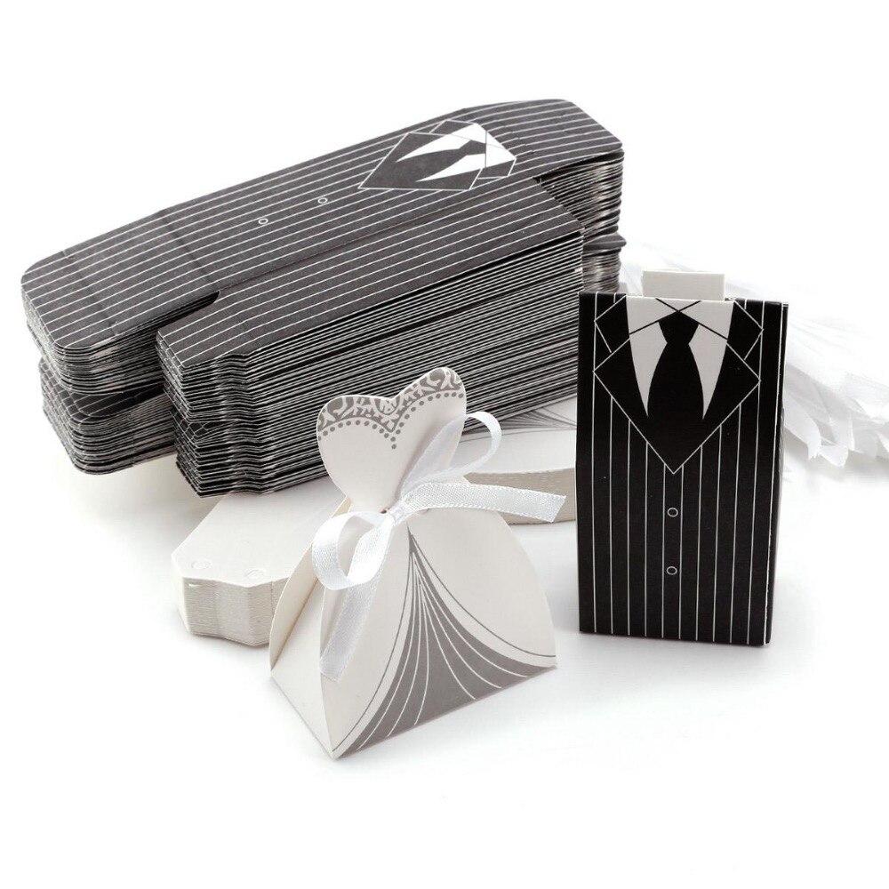 100Pcs Promotion! White / Black Tuxedo Bride & Groom Wedding Favors ...