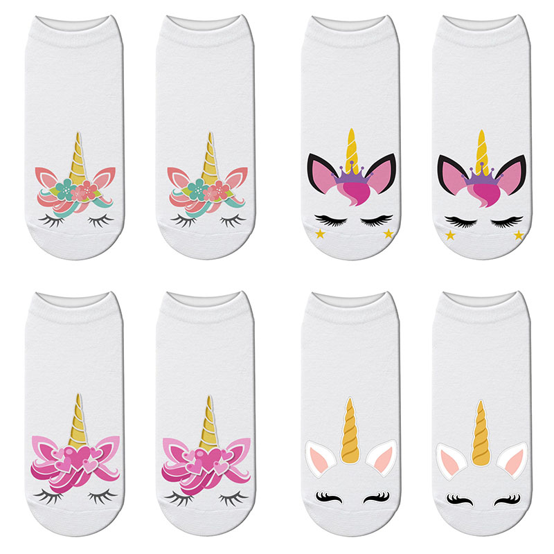 New 3D Printing Unicorn   Socks   Women Kawaii Cute Short   Sock   Harajuku Licorne Low Cut Ankle   Socks   Chaussette Femme Calcetines Muje