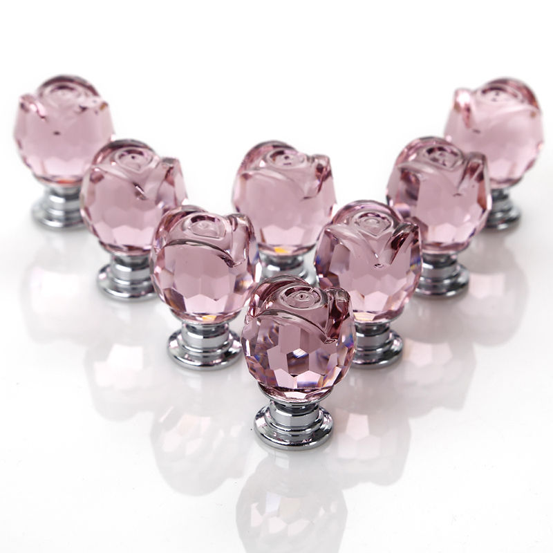 New 8 Pcs/Set Pink Rose Crystal Glass Door Knobs Kitchen Cabinet Drawer Handle 22MM With 8 X 20mm Door Handles And 8 X Screws