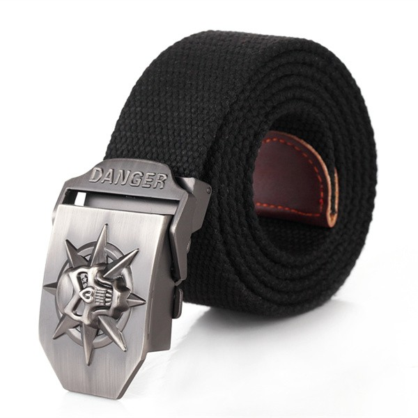 Fashion men's Canvas belt skull Metal tactics woven belt canvas belt Casual pants Cool wild gift for men belts Skull large size 10