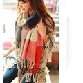 200*60 cm Woemen 2016 Moda Borlas Cachecol De Inverno de Lã Mulheres Espanha Desigual Scarf Plaid Grosso Marca Xales e lenços para As Mulheres