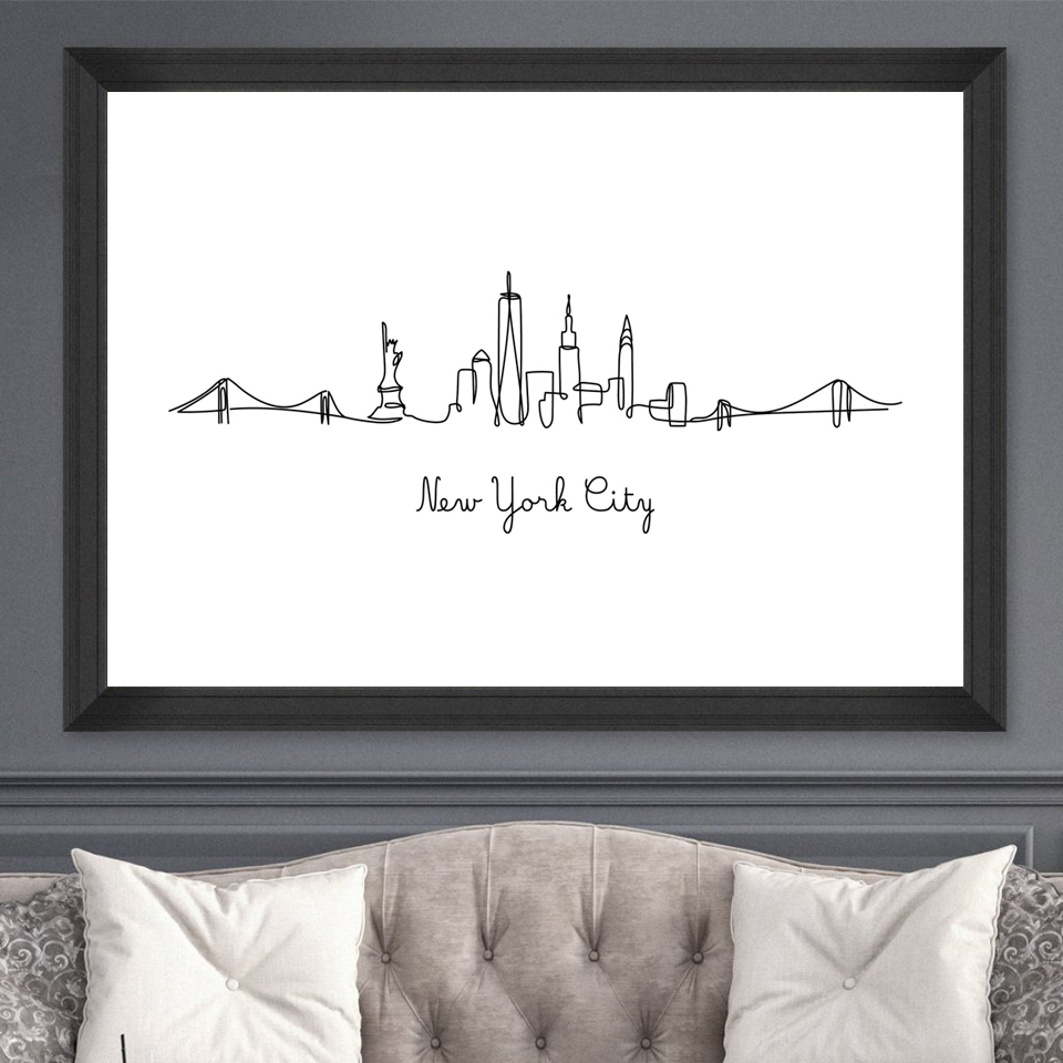 Abstract-City-London-NY-Line-Drawing-Nordic-Posters-Prints-Modern-Canvas-Painting-Wall-Minimalist-Picture-For