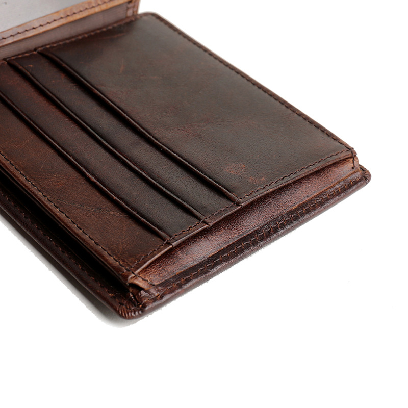 HENGSHENG cow leather men wallet with quality genuine leather short men wallet for fashion business men cross wallet - 4