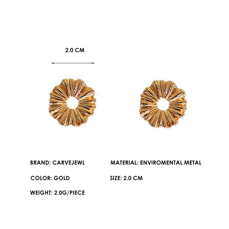 Carvejewl קוריאני עיצוב קטן עצבני עגול stud עגילים לנשים תכשיטים פשוט סדיר גיאומטרי תלמיד teen מקופל עגיל