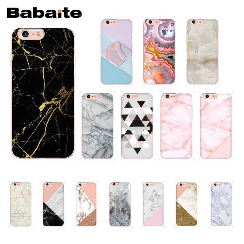 204c1195624162 Babaite Gold Black Pink White marble collage fashion Soft Phone Case for  iPhone 8 7 6