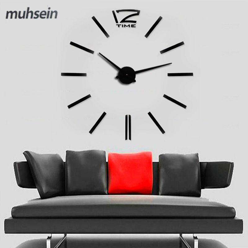 2017 muhsein New Gold color Free shipping fashion 3D new size mirror wall sticker DIY wall clock home decoration meetting room