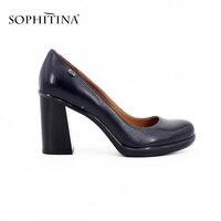 SOPHITINA 9cm High Heels Square Heels Pumps High Quality Genuine Leather Black And Dark Blue Round